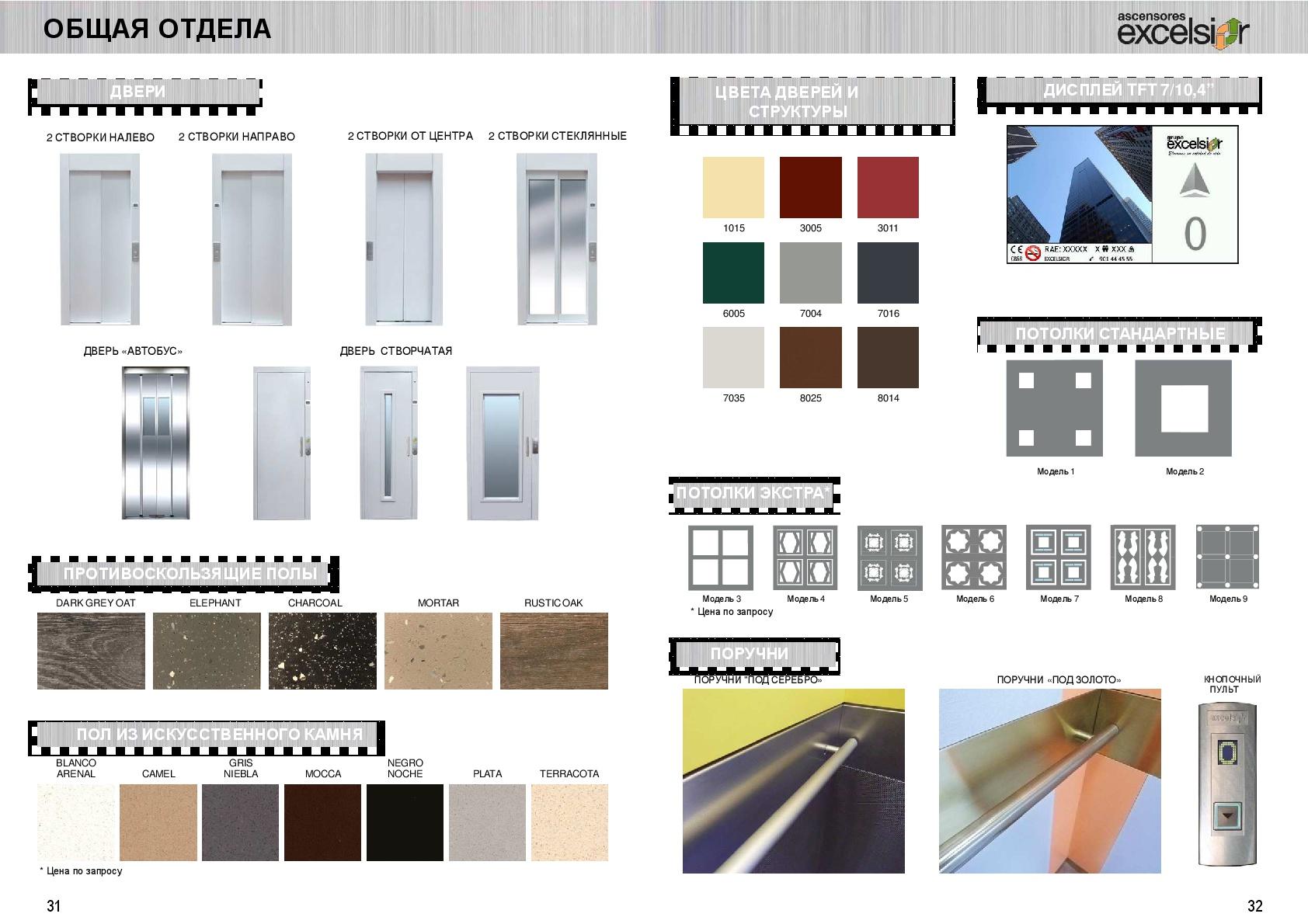 Complementos para ascensores residenciales. Catálogo en ruso
