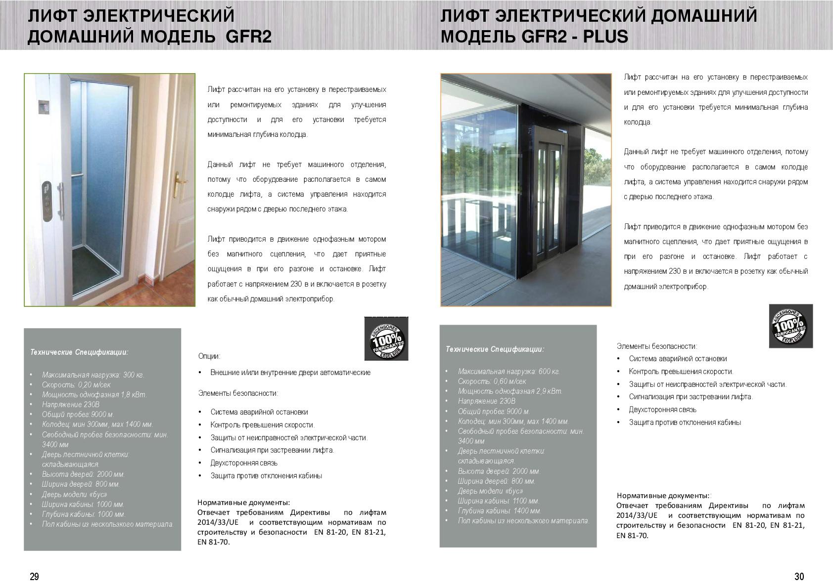 Catálogo traducido al ruso de diferente ascensores residenciales