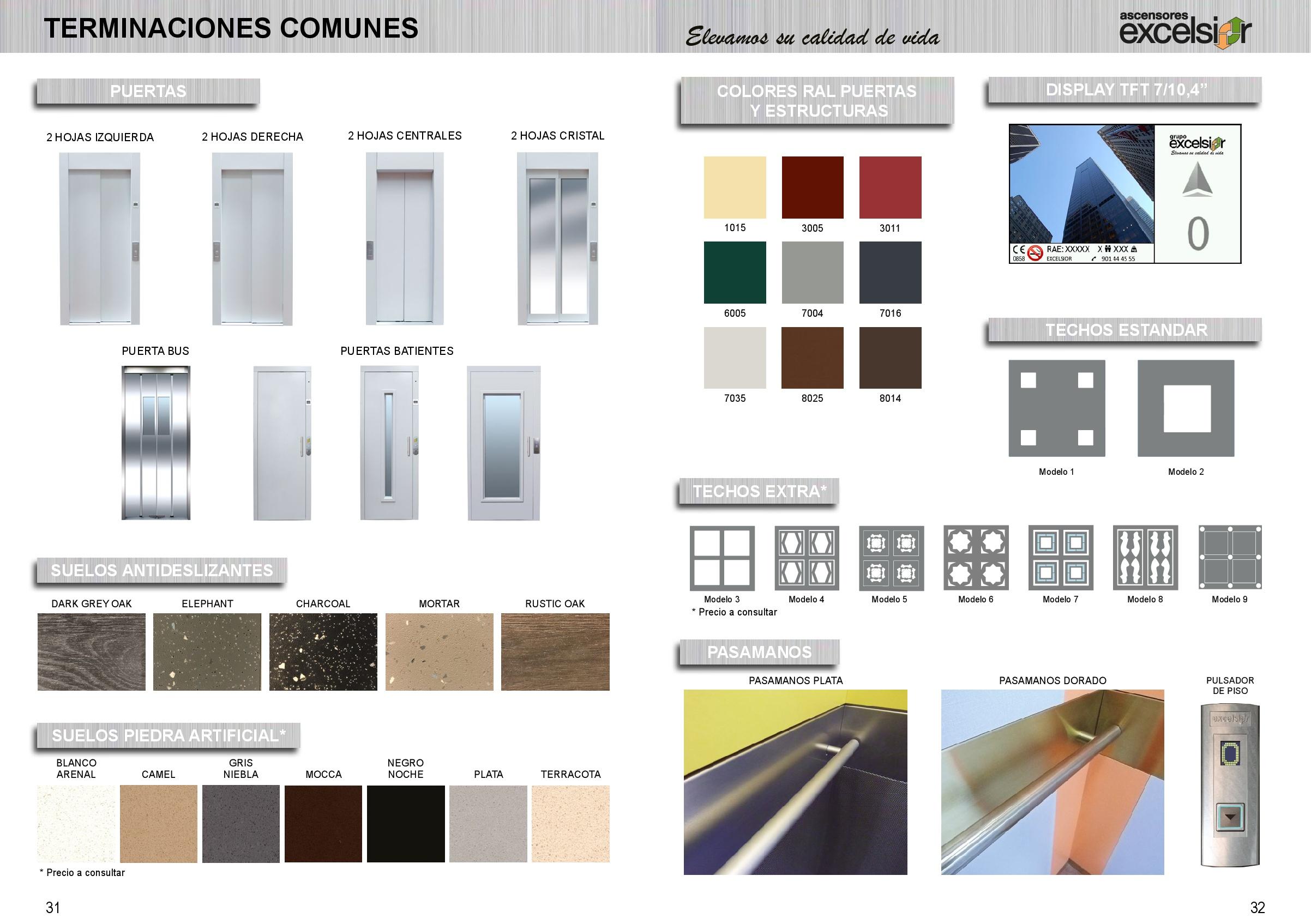 Catálogo de complementos para ascensores residenciales Excelsior